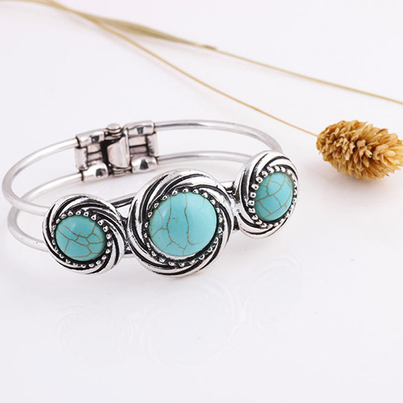 Bohemian Style Retro Cute Plating Lady Bracelet Turquoise Circle - Wel Bell