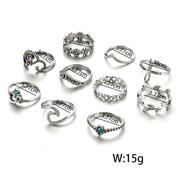 10pcs/Set Women Bohemian Vintage Silver Stack Rings Above Knuckle Blue Rings Set - Wel Bell