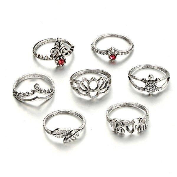7pcs/Set Women Bohemian Vintage Silver Stack Rings Above Knuckle Blue Rings Set - Wel Bell