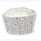 Elastic Stretchy 8 Row Rhinestone Crystal Bracelet Bangle Bridal Women - Wel Bell