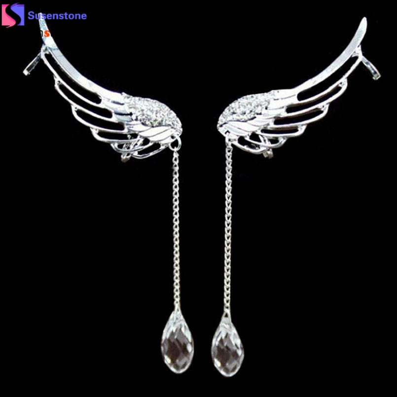 SUSENSTONE Charm Elegant Angel Wing Crystal Earrings Drop Dangle Ear Stud Cuff Clip