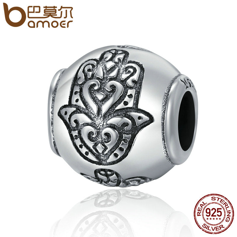BAMOER Hot Sale 100% 925 Sterling Silver Fatima Hand Faith Power Beads fit Original Charm Bracelets Women DIY jewelry SCC306 - Wel Bell