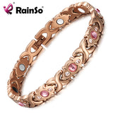 RainSo Pink Crystal Gem Bracelet Magnetic Health Bio Energy Bracelets Rose Gold Fashion Jewelry Christmas Gifts for Women Lady - Wel Bell