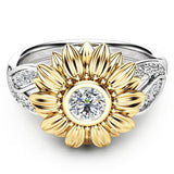 Exquisite Women's Two Tone Silver Floral Ring Round Diamond Gold Sunflower Jewel - Wel Bell