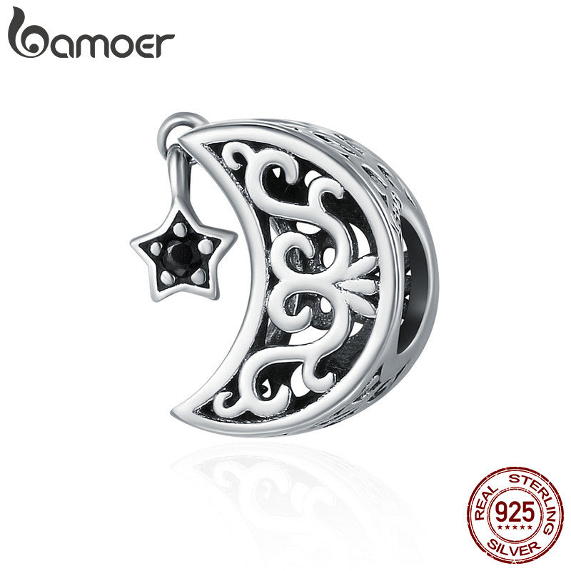 BAMOER 100% 925 Sterling Silver Openwork Moon and Star Goodnight Charm Beads fit Bracelet DIY Jewelry Valentine Day Gift SCC483 - Wel Bell