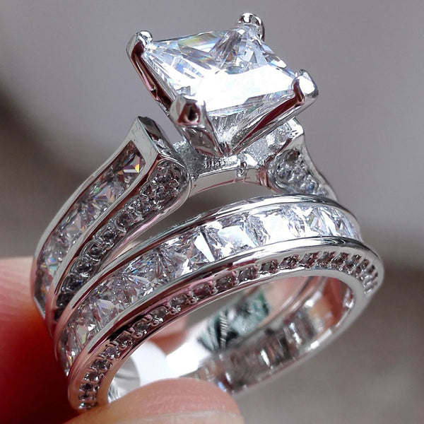 2-in-1 Womens Vintage White Diamond Silver Engagement Wedding Band Ring Set - Wel Bell