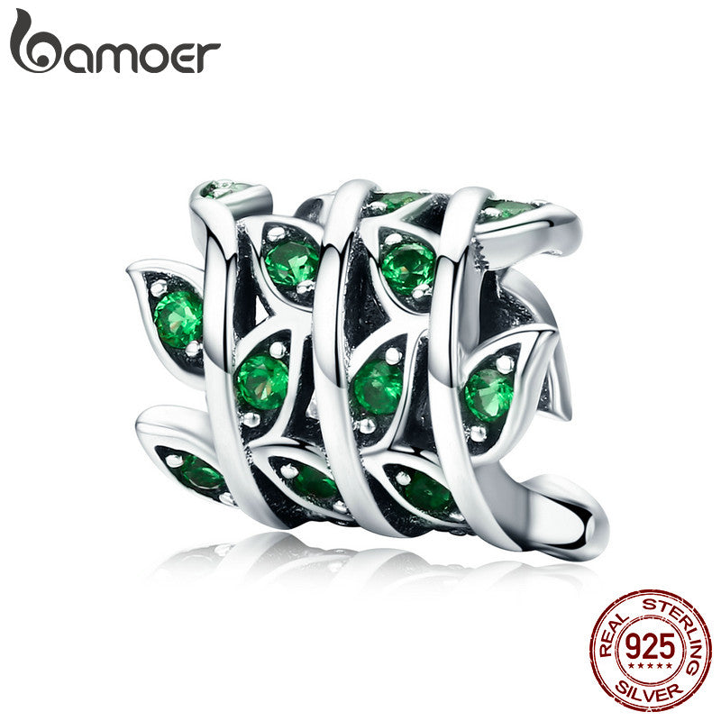 BAMOER 100% 925 Sterling Silver Tree of Life Green Tree Leaves Beads fit Women Bracelet & Necklaces DIY Jewelry Making SCC567 - Wel Bell