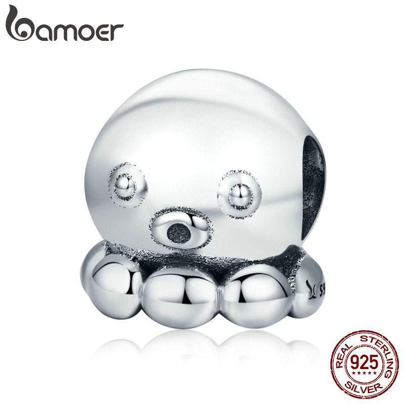 BAMOER Authentic 100% 925 Sterling Silver Octopus Squid Cuttlefish Beads fit Charm Bracelet & Necklace Silver Jewelry SCC622 - Wel Bell