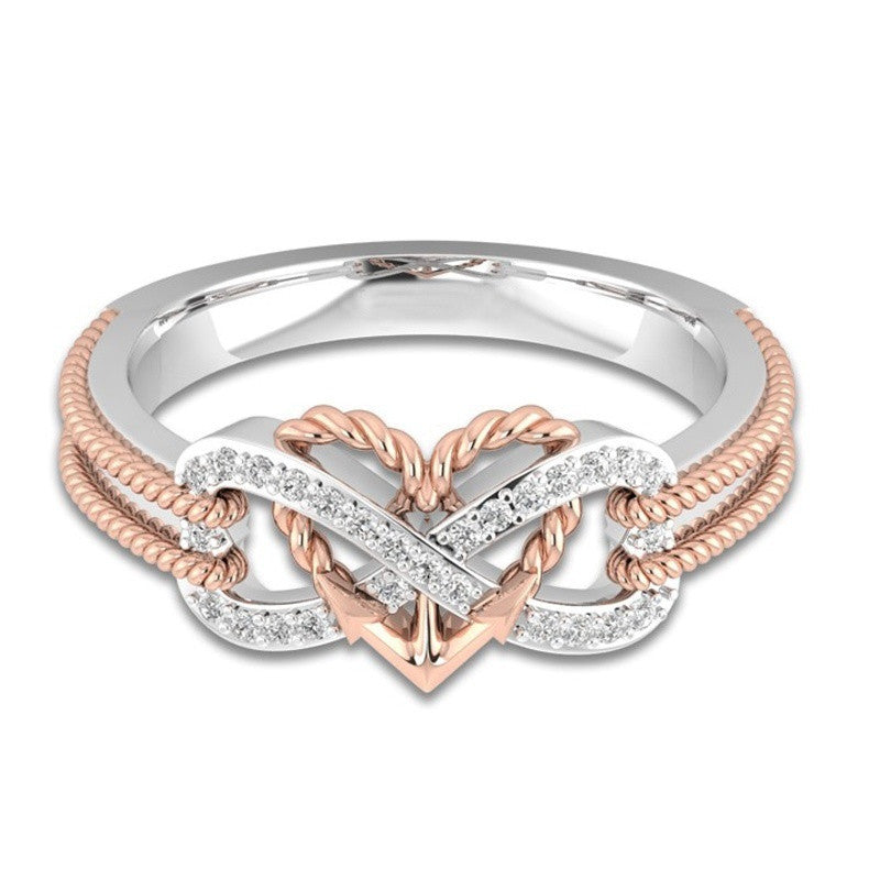 Heart Tow-Tone Anniversary Engagement Wedding Rings for Women - Wel Bell