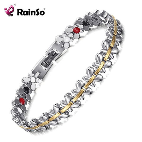 Rainso Brand Design Fashion Health Energy Magnetic Bracelets Bangles for Women Drop-Shipping Germanium Charm Butterfly Wristband - Wel Bell