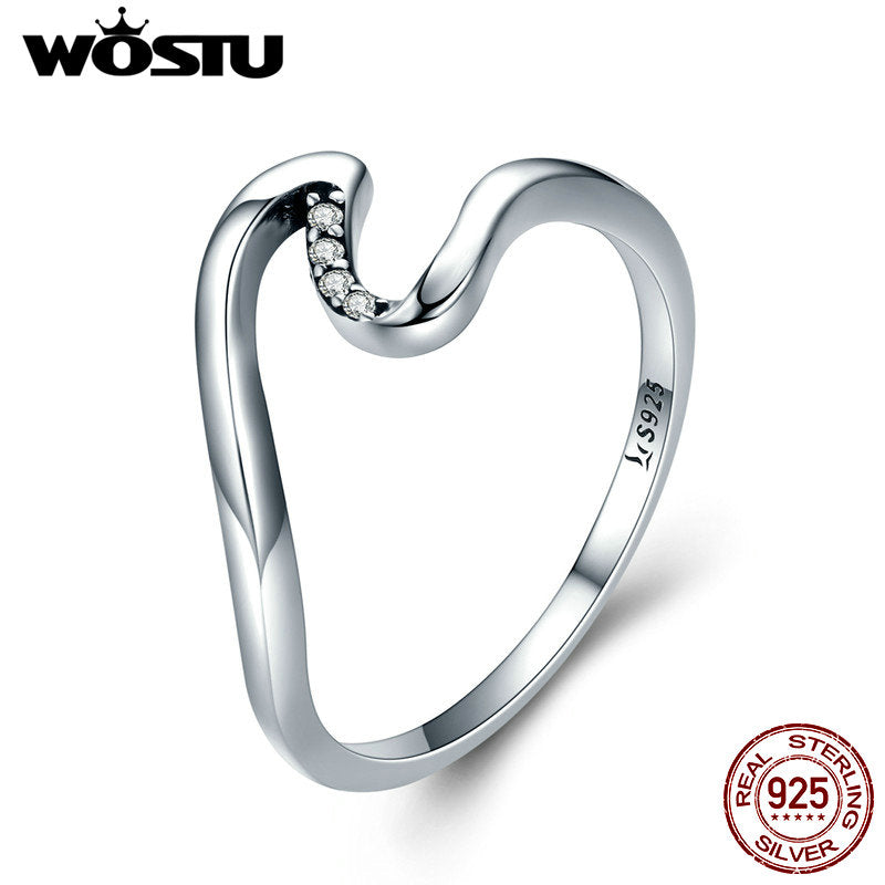 WOSTU 100% 925 Sterling Silver Wave Finger Rings for Women Wedding Engagement Party Sterling Silver Jewelry Gift CQR378