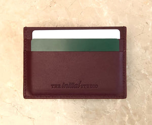 Leather Cardholder Set - Deep Burgundy