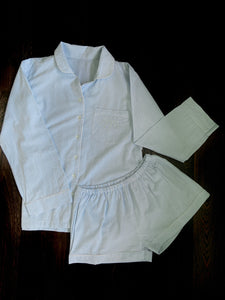 Blue and White Shorts Set