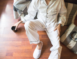 Textured White Cotton Pj Set - His