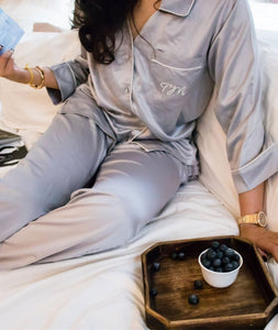 Satin Pj Set - Grey Luxe