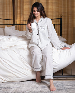 Cotton Pj Set - Black and White Hers