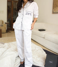 Textured White Cotton Pj Set - Hers