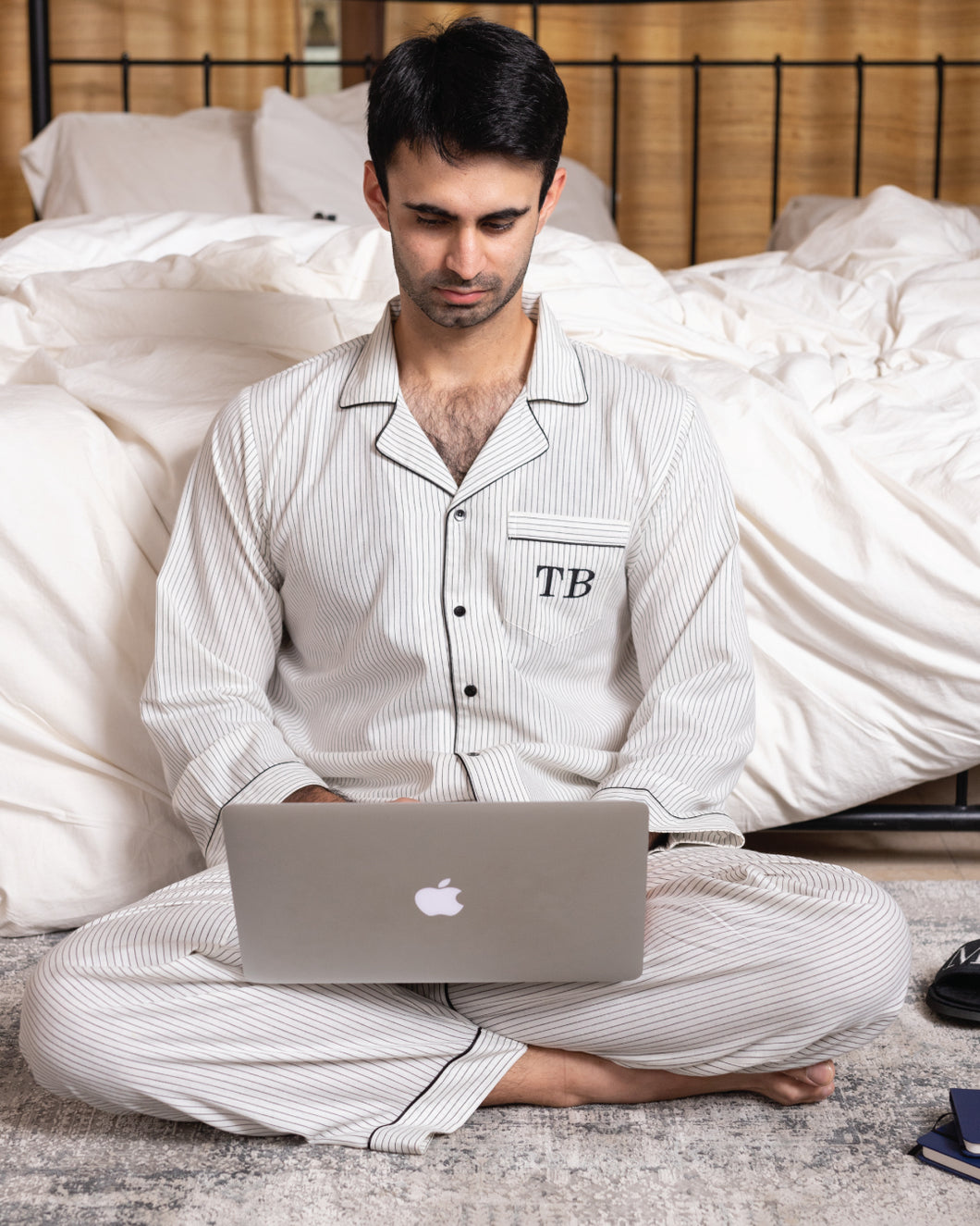 Cotton Pj Set - Black and White His