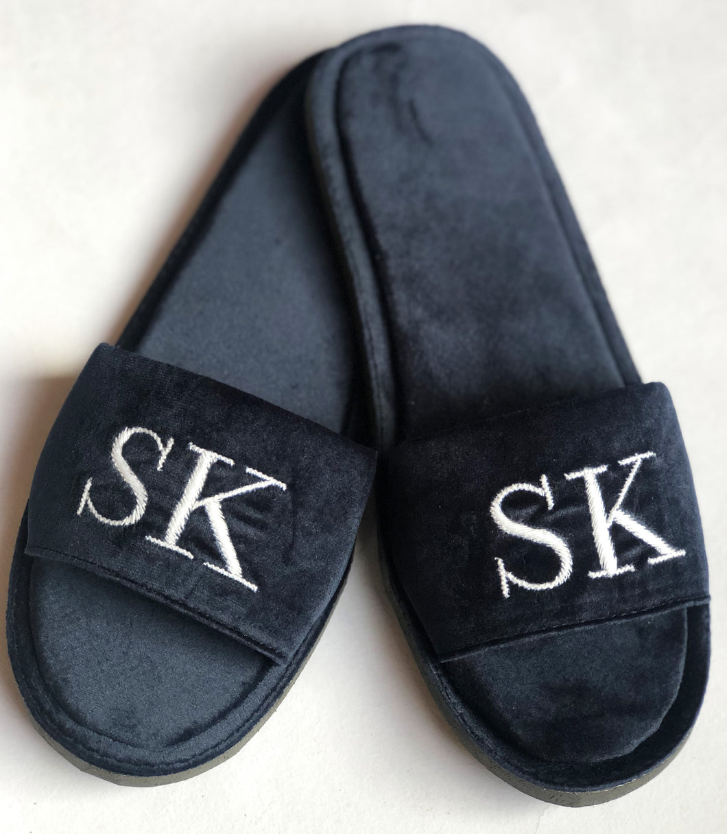 Initial Velvet Slippers - Midnight Blue