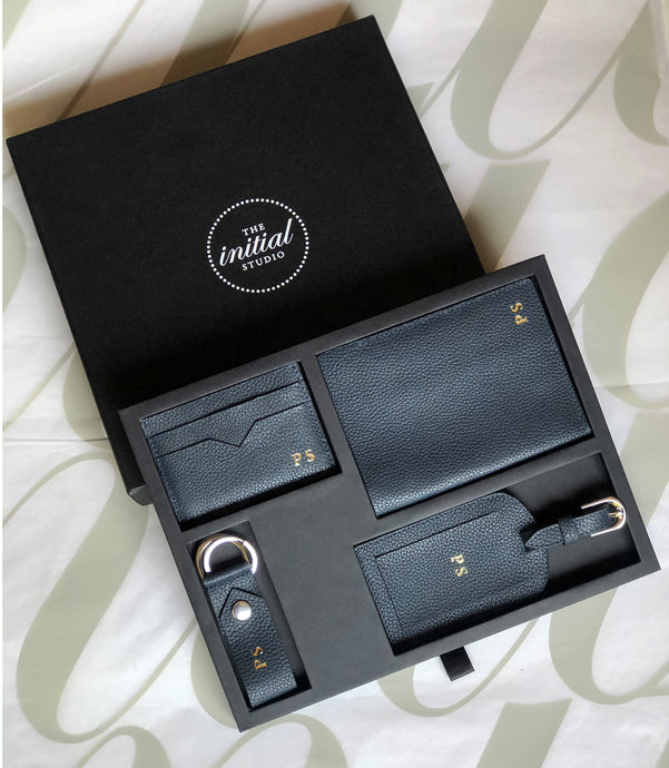 Leather Travel Set  - Pebble Blue