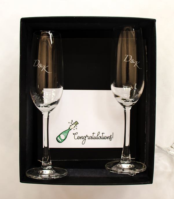 Champagne Flutes, Champagne Glasses, Personalised Glasses
