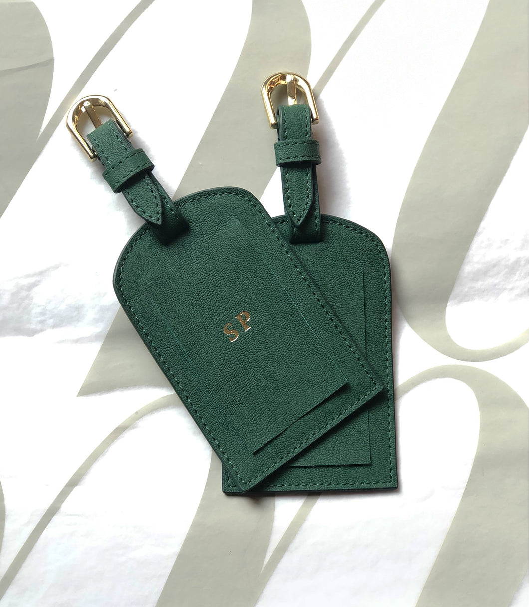 Vegan Leather Luggage Tag Set - Grainy Green