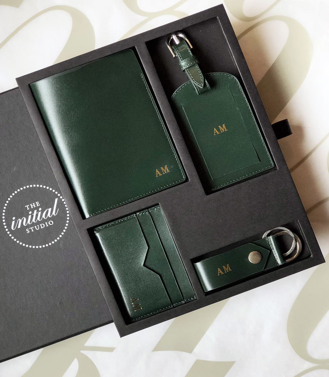 Leather Travel Set  - Green