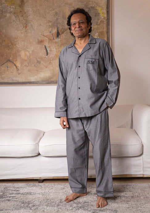 Cotton Pj Set - Grey Chambray His