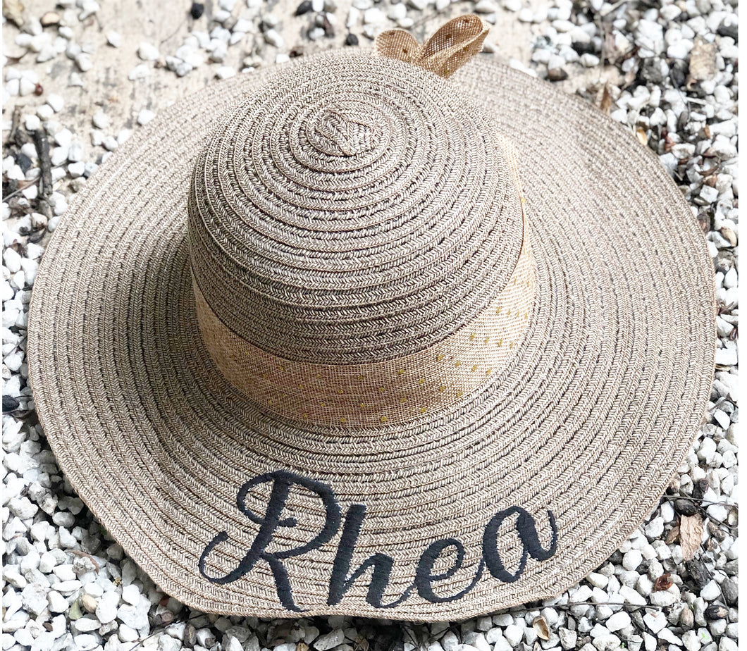 Personalised Embroidered Sun Hat - Greyish Beige