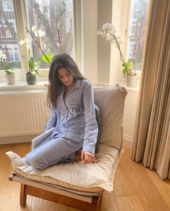 Cotton Pj Set - Blue and White Hers