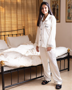 Bridal Satin Pj Set - White