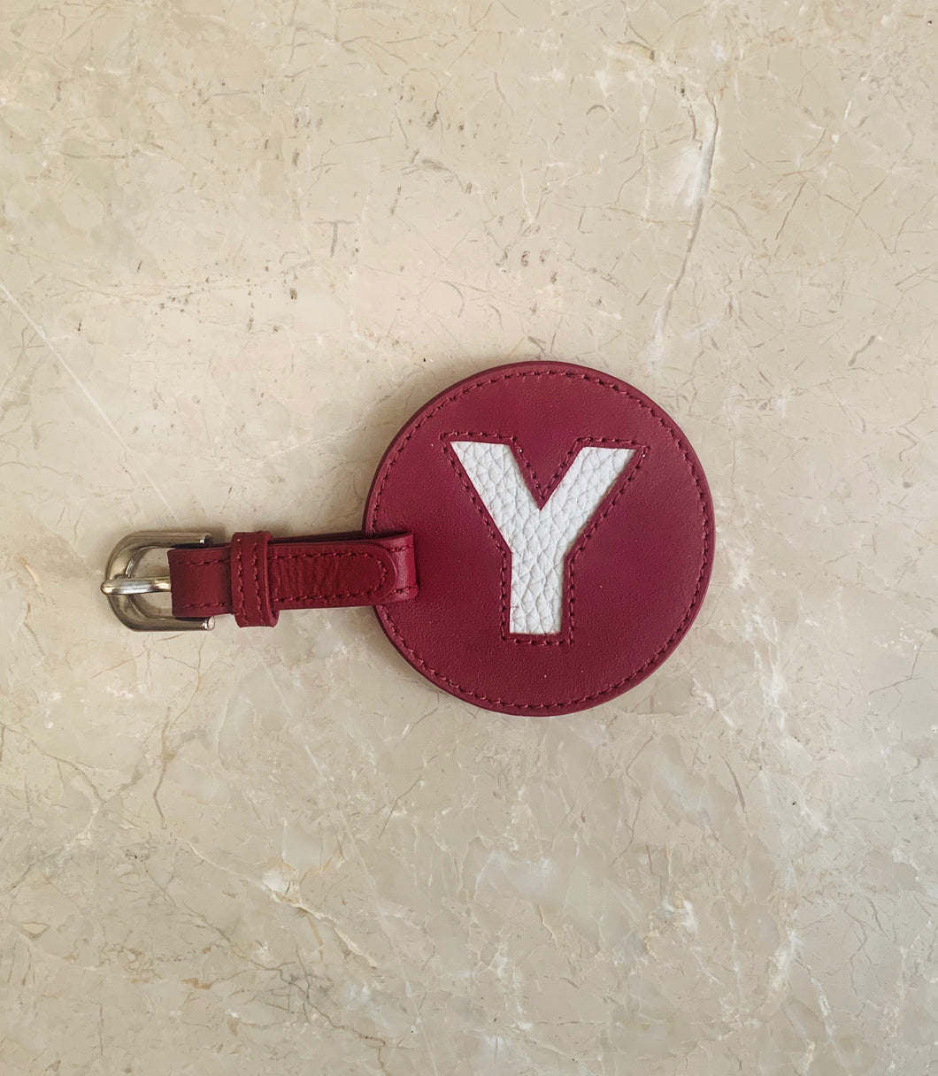 Circular Luggage Tag - Deep Red