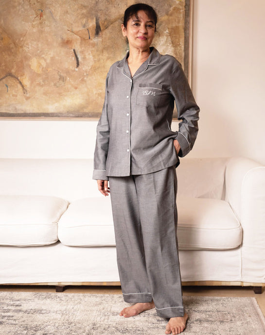 Cotton Pj Set - Grey Chambray Hers