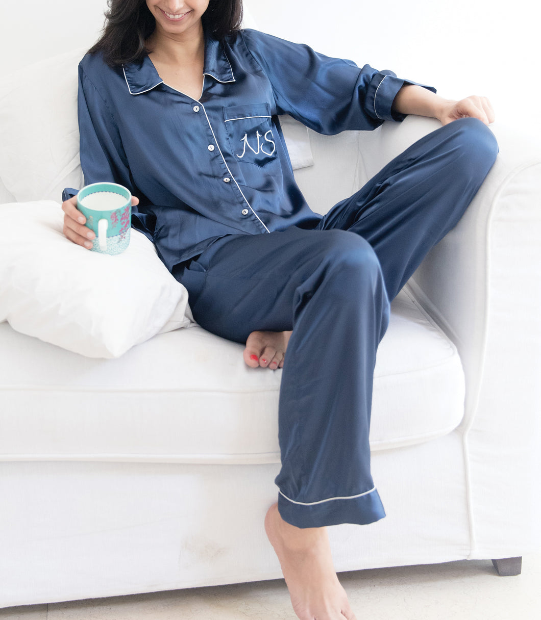 Satin Pj Set - Navy Blue