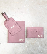 Leather Passport and Luggage Tag Set  - Pebble Pink
