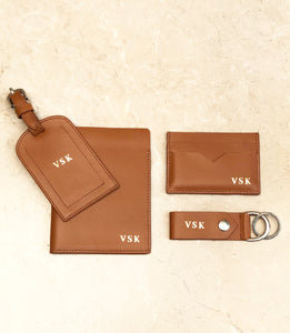 Leather Travel Set  - Smooth Tan