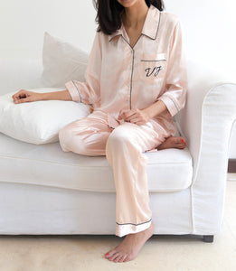 Satin Pj Set - Light Pink