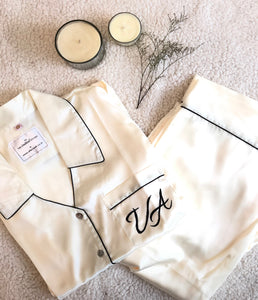Satin Pj Set - White