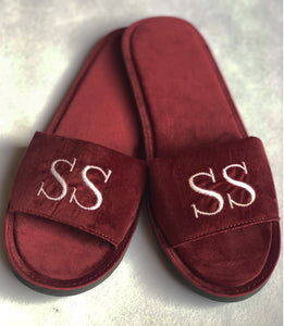 Initial Velvet Slippers - Ruby Red
