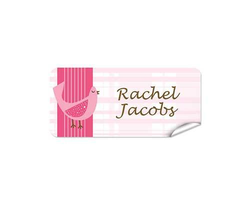 Pink Bird 48pk Labels - Rectangle