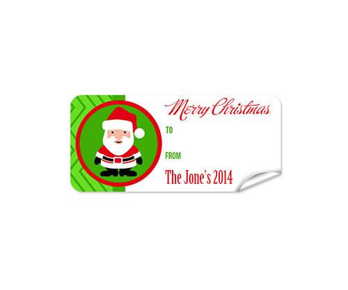 Green Santa 27pk Labels Christmas