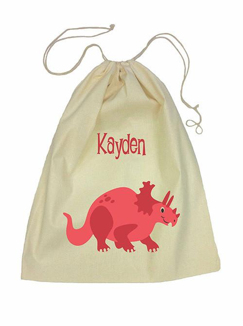 Drawstring Bag - Red Dinosaur