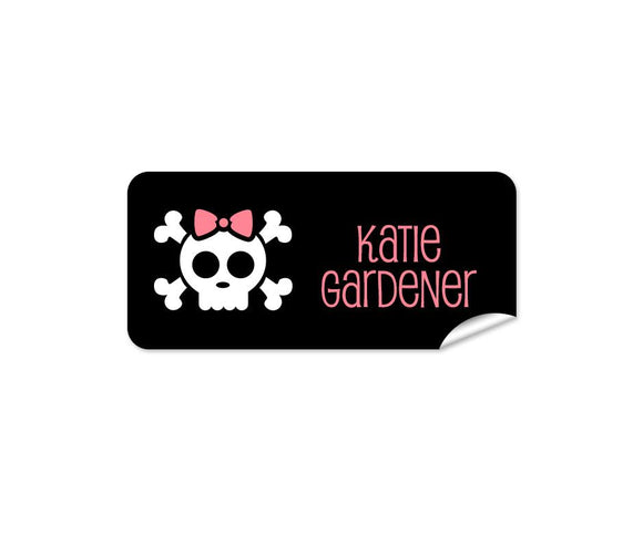 Skull on Black 48pk Labels - Rectangle
