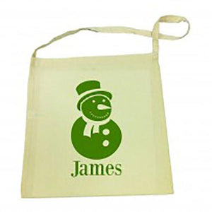 Green Snowman Christmas Tote Bag