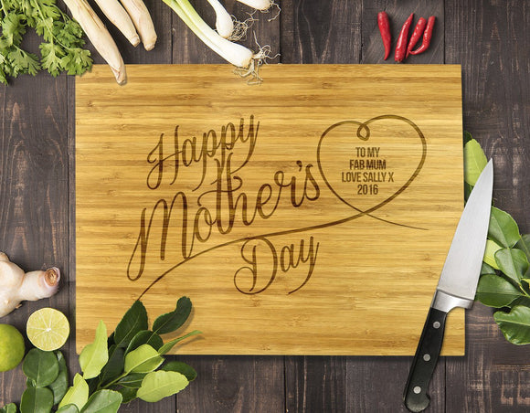 Happy Mother's Day Bamboo Cutting Board 8x11
