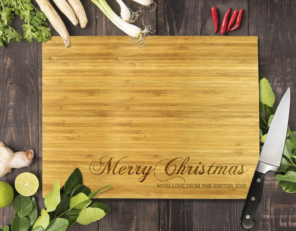 Merry Christmas Bamboo Cutting Board 8x11