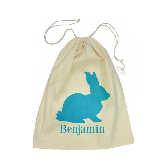 Blue Bunny Drawstring Library Bag
