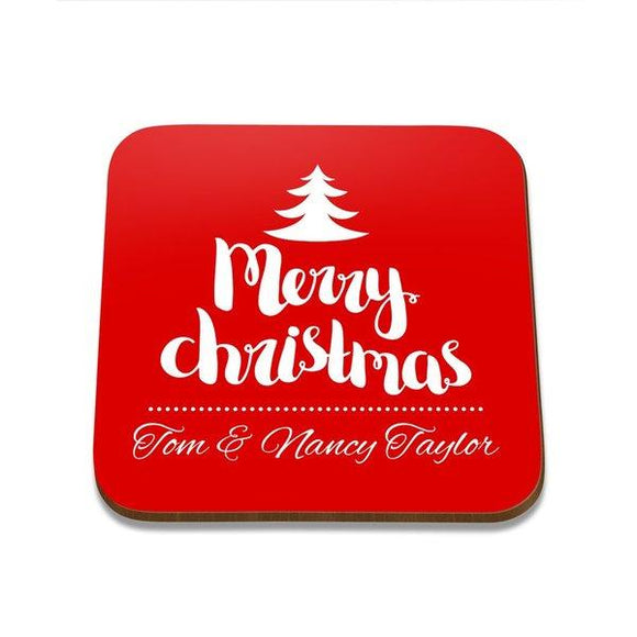 Merry Christmas Square Coaster - Single