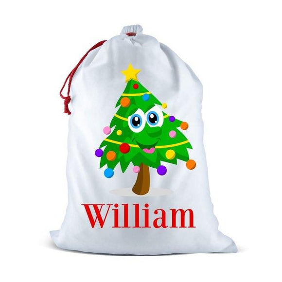 Christmas Tree White Santa Sack