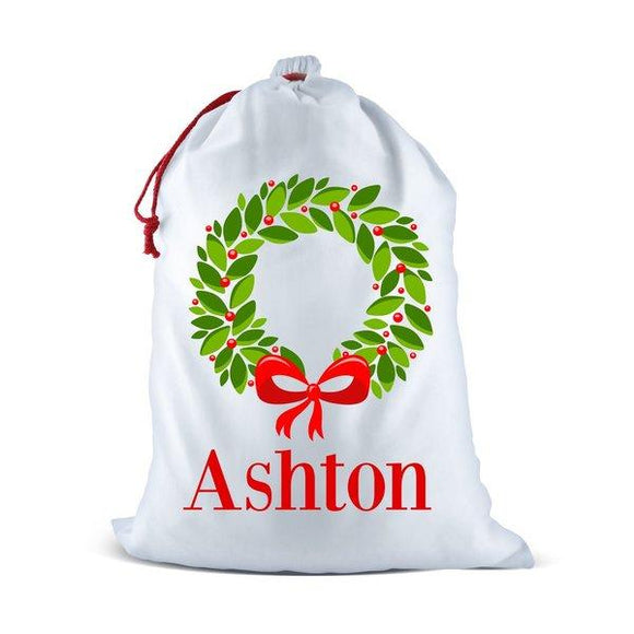 Christmas Wreath White Santa Sack